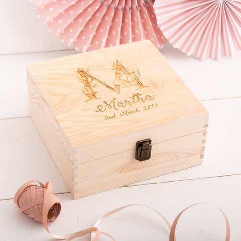 Wooden Keepsake Monogram Box - The Bespoke Workshop