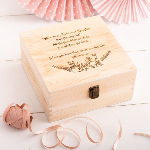Wooden Keepsake Box - Custom Wording - The Bespoke Workshop