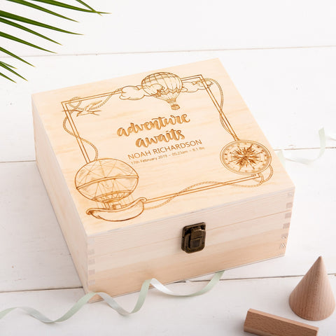 Personalised New Baby Keepsake Box - Adventure Awaits