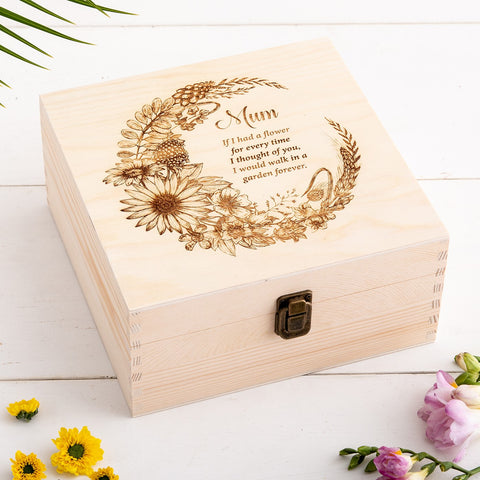 Personalised Floral Remembrance Keepsake Box - The Bespoke Workshop