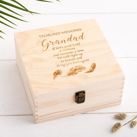 Personalised Remembrance Keepsake Box - Feather Design