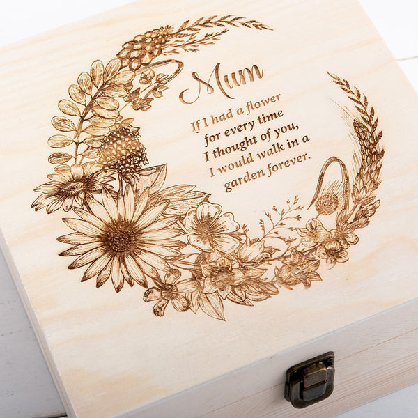 Personalised Floral Memory Keepsake Box - The Bespoke Workshop