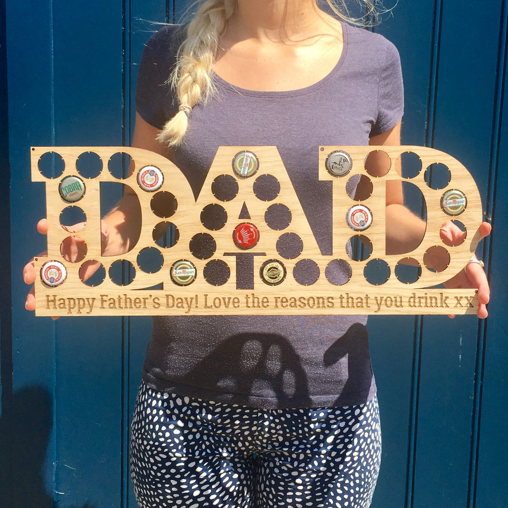 Beer Bottle Top Display - Dad - Includes personalised message