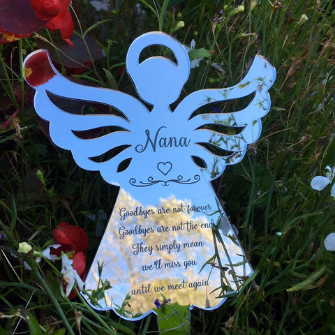 Angel Remembrance Garden Decoration - Silver Mirrored - Ground