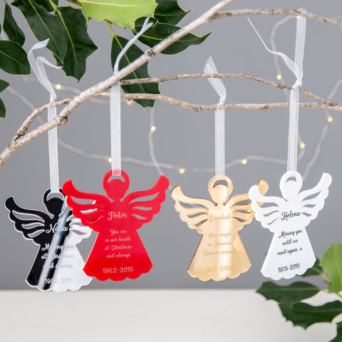 Personalised Angel Christmas Tree Decorations - The Bespoke Workshop