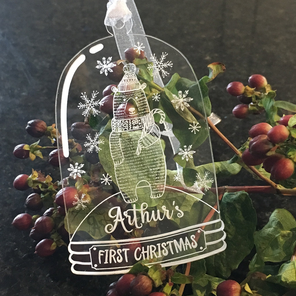 Bell Jar Christmas Decoration - Bear - Clear Acrylic