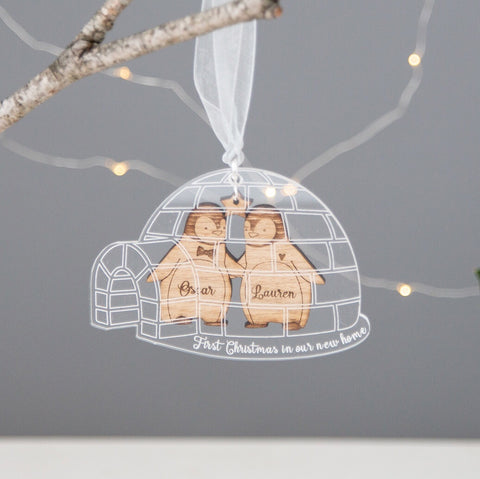 Penguins within Igloo Personalised Christmas Decoration