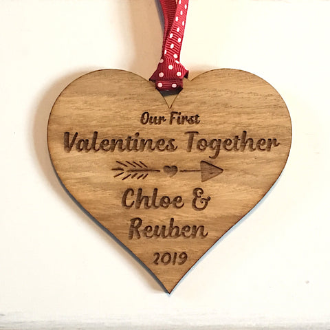 Valentines Personalised Hanging Wooden Heart