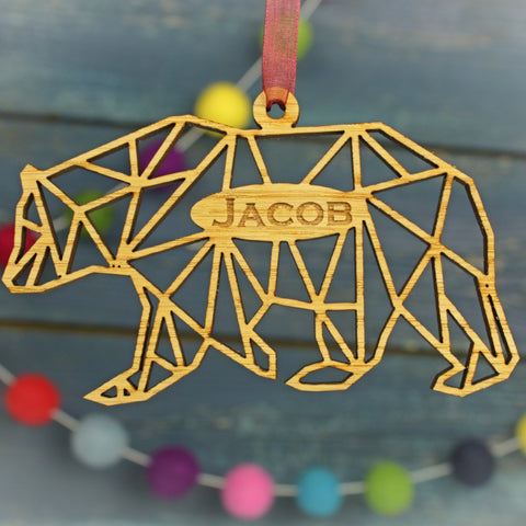 Geometric Bear Modern Personalised Christmas Decoration