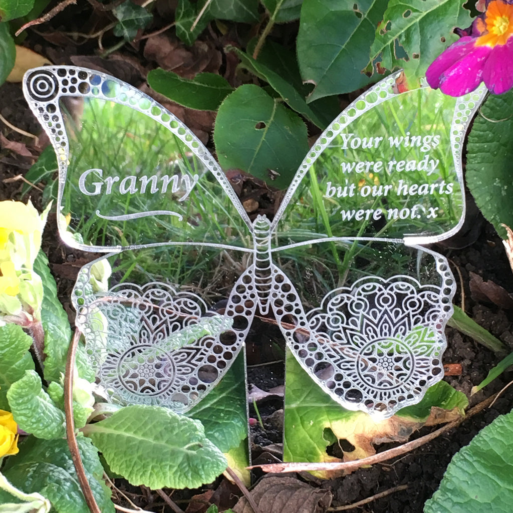 Memorial Butterfly - Silver Mirrored Decoration - Ground