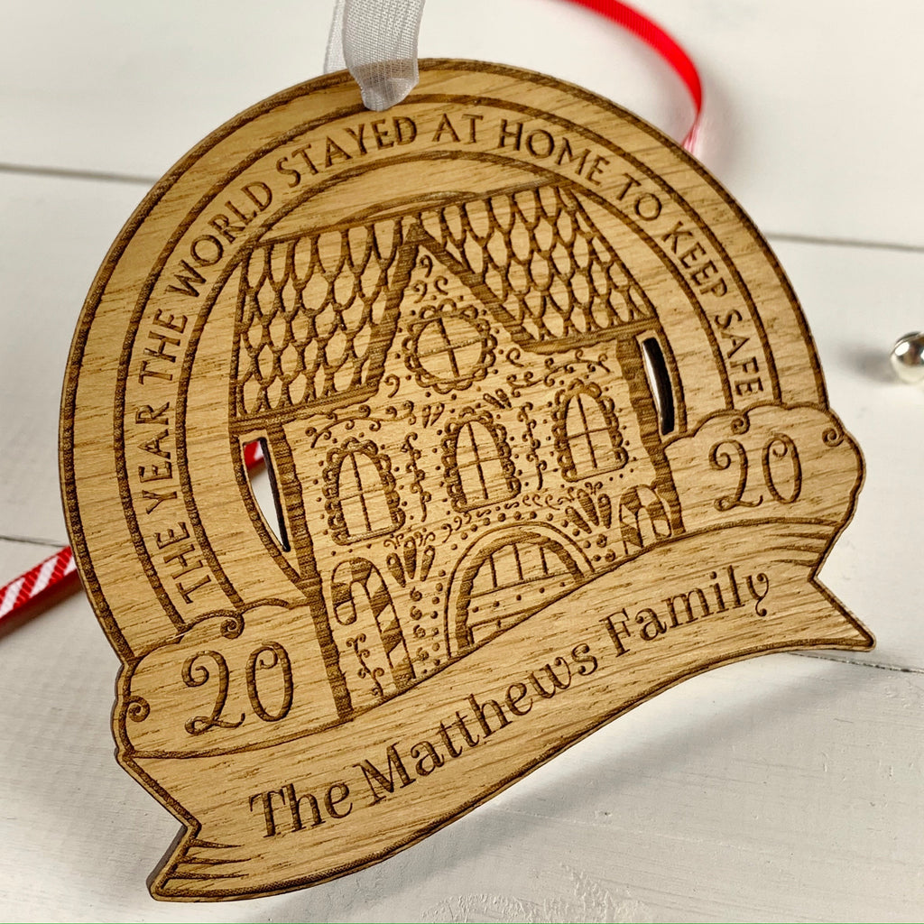 Personalised 2020 Lockdown Christmas Decoration - Oak