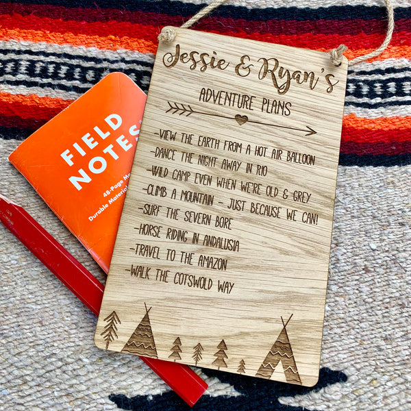 Bucket List Couples Sign - The Bespoke Workshop
