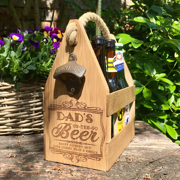Handmade Beer Caddy with Engraving