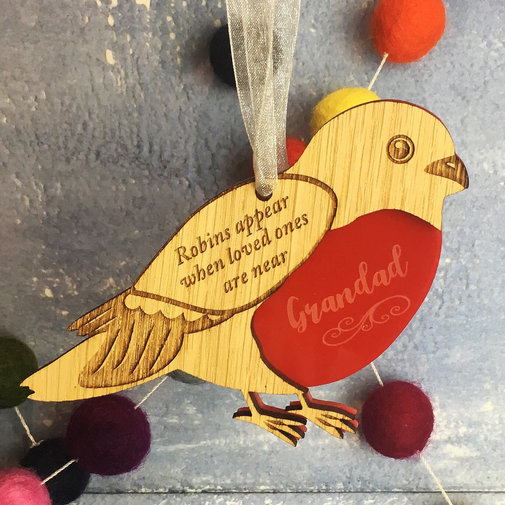 Robins Appear When Loved Ones Are Near - Personalised Hanging Decoration