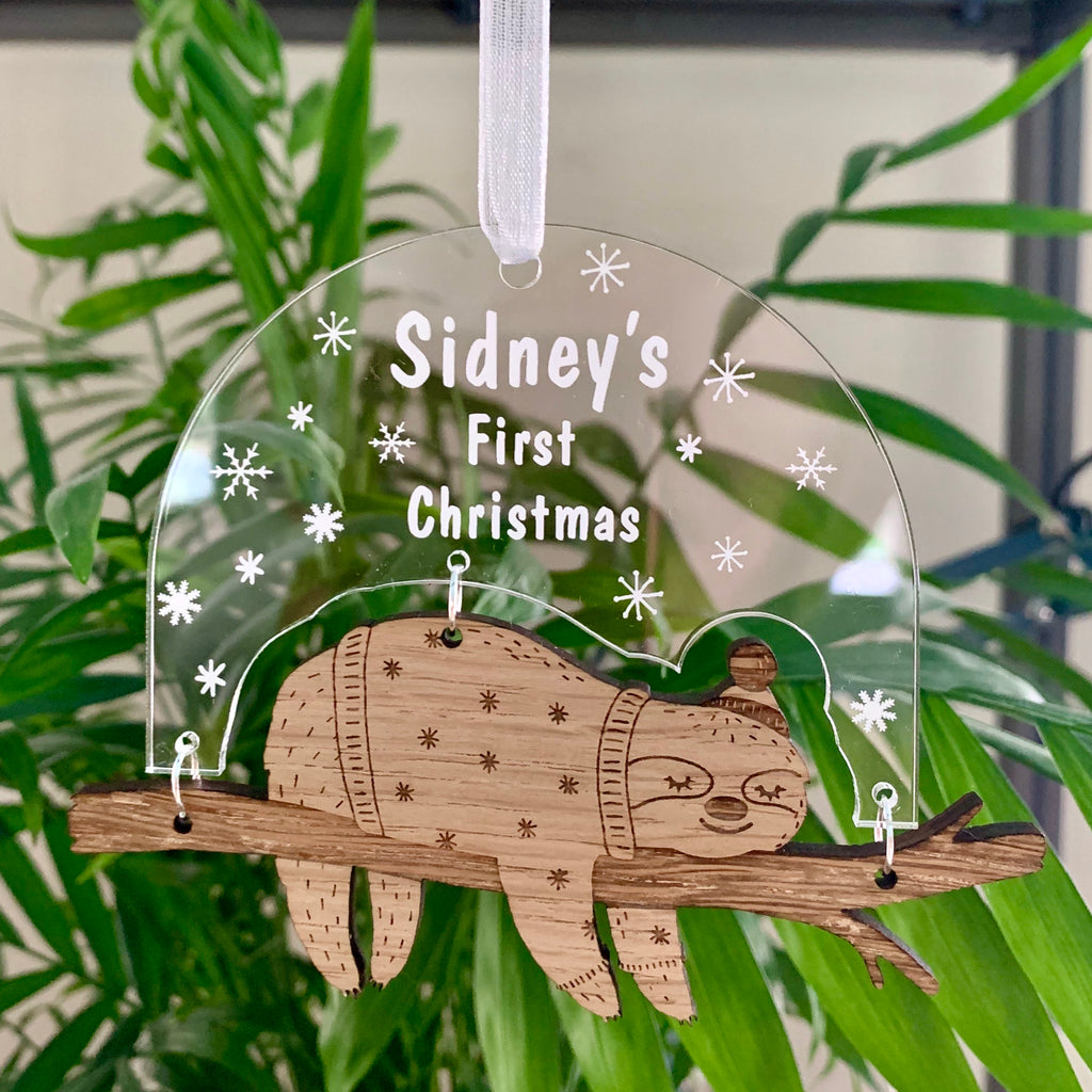 Personalised Sloth Christmas Decoration