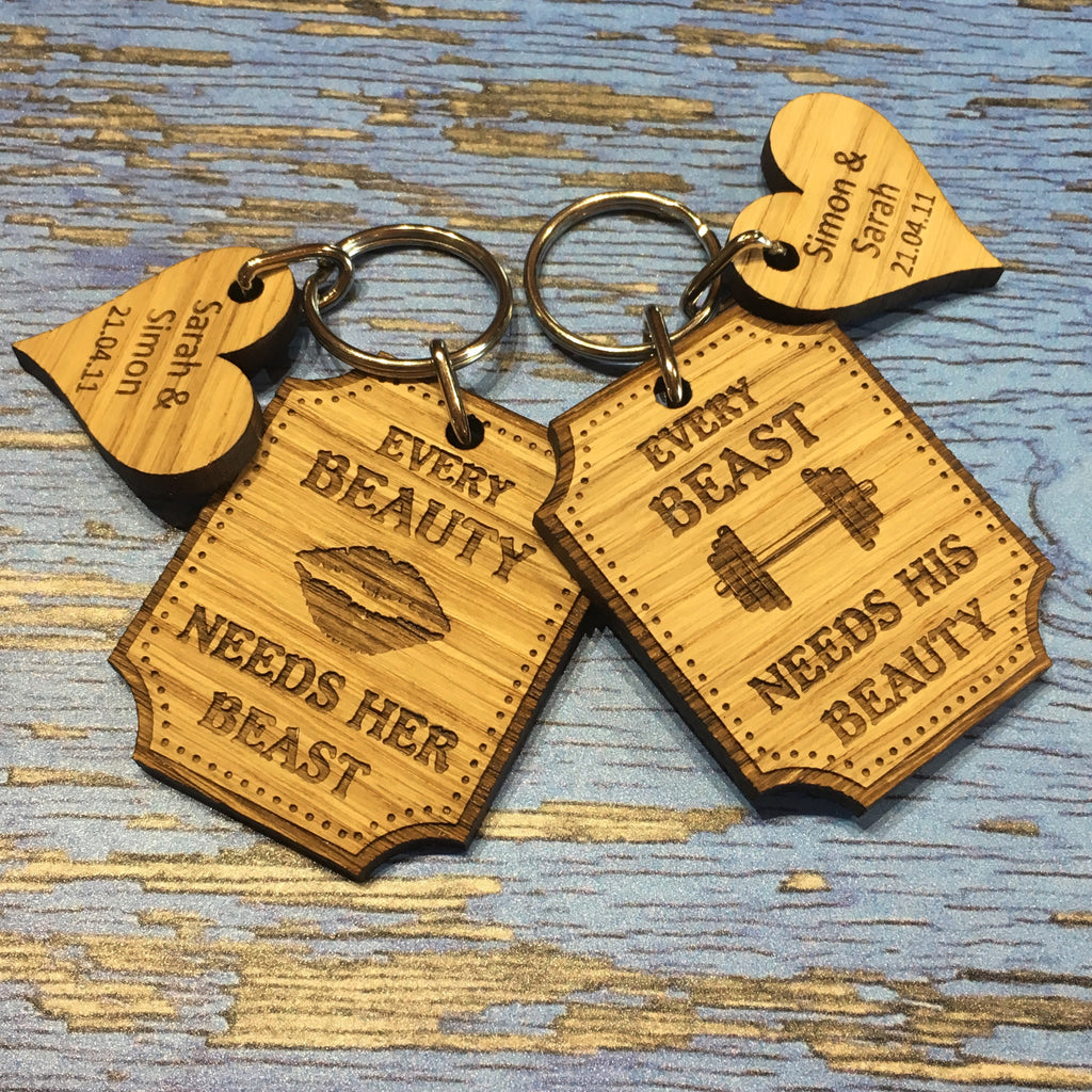 Pair of Personalised Beauty & Beast Couples Keyrings