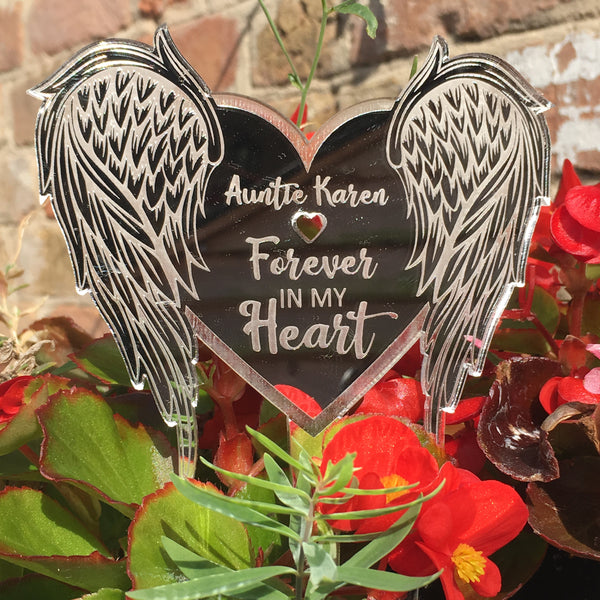 Heart Shaped Angel Wings - Silver Mirrored Memorial Ground Decoration