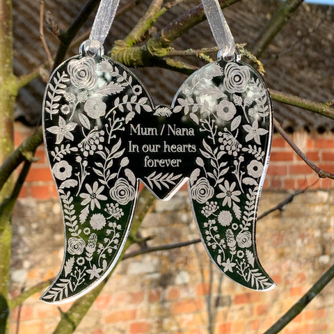 Floral Personalised Angel Wings | Remembrance Hanging Acrylic Decoration