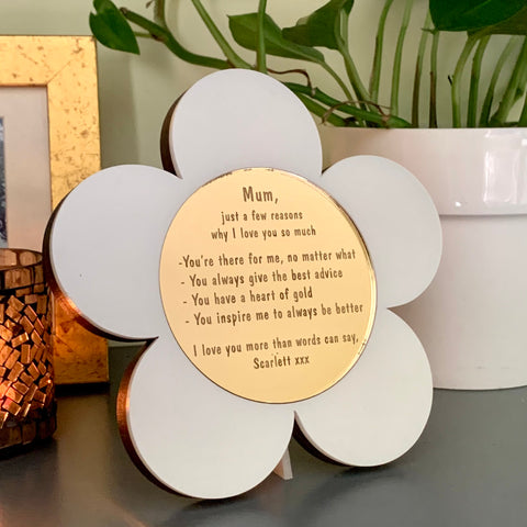Personalised Reasons Why I Love You White & Gold Daisy Frame