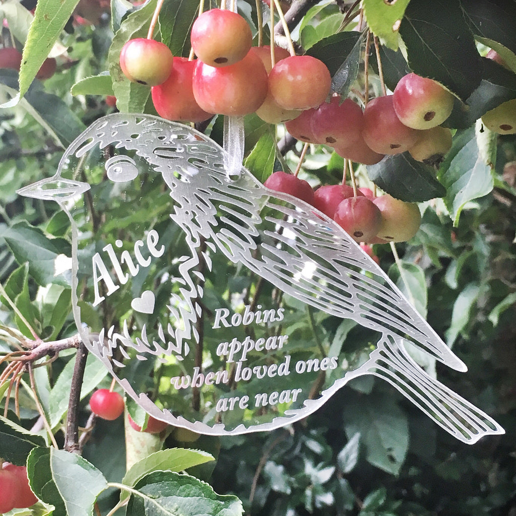 Hanging 'Robins Appear When Loved Ones Are Near' - Silver Mirrored Hanging Decoration