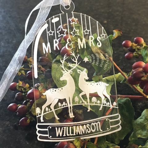 Bell Jar Christmas Decoration - Mr & Mrs Deer - Clear Acrylic