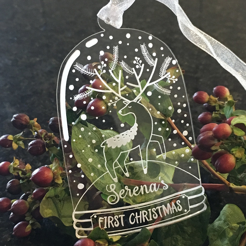 Bell Jar Christmas Decoration - Reindeer - Clear Acrylic