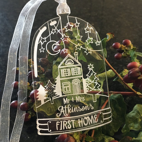 Bell Jar Christmas Decoration - Our Home - Clear Acrylic