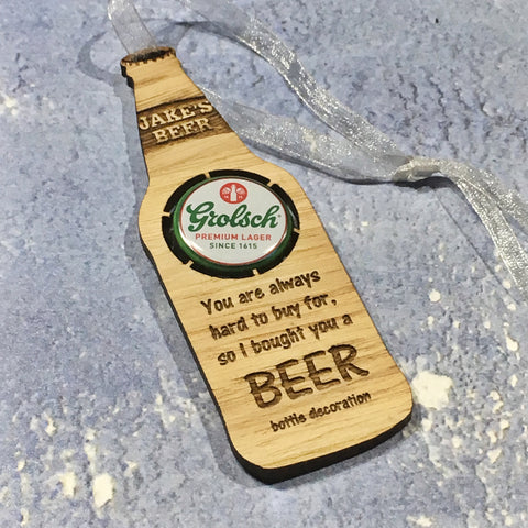 Personalised Beer Bottle Hanging Decoration
