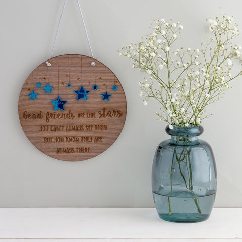 Personalised 'Friends are like stars...' Hanging Plaque