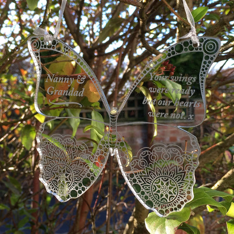 Hanging Memorial Butterfly - Silver Mirrored Decoration