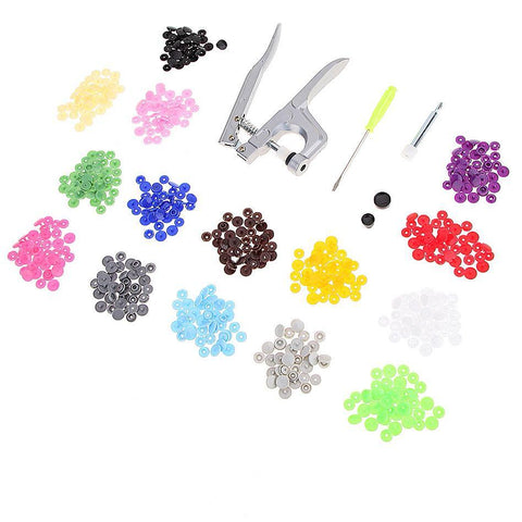 150 pcs plastic snaps buttons and 1 set of snap pliers hand tools