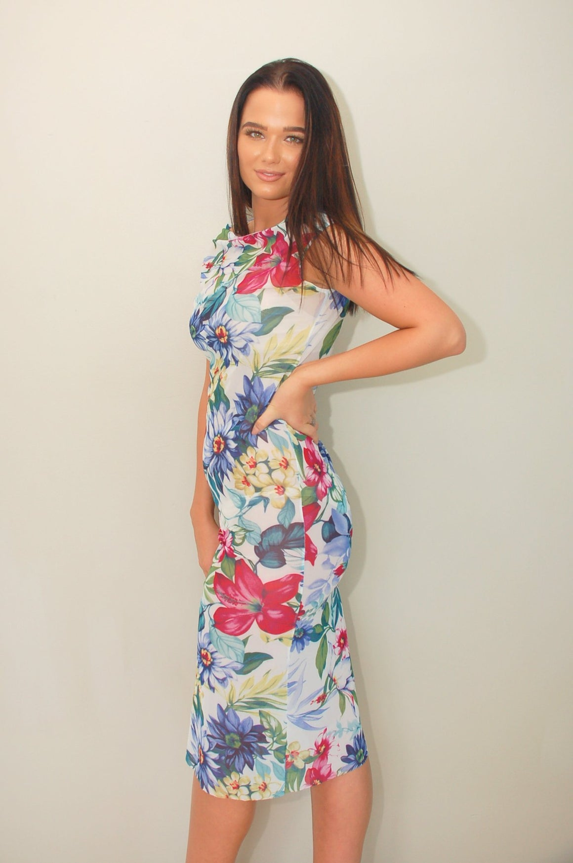 Signature Print Tropical Vintage Mesh Dress