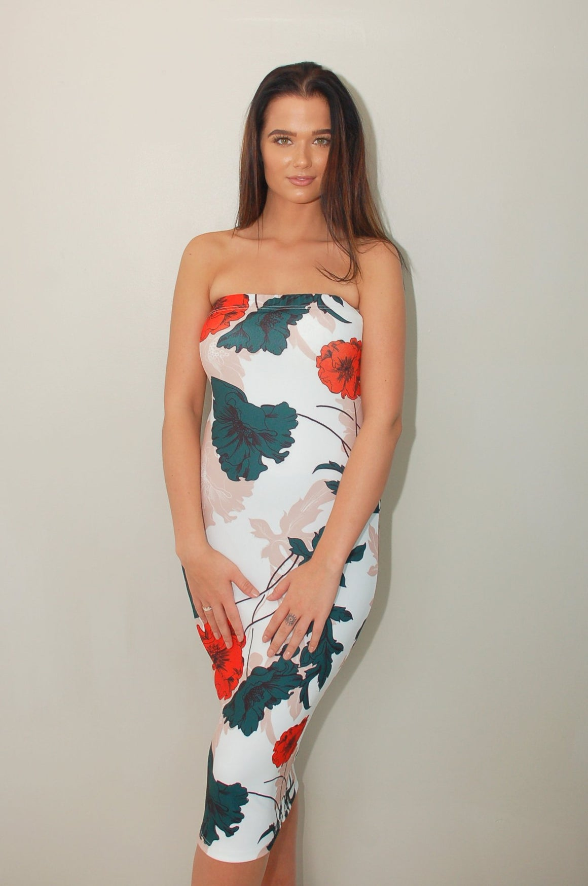 Crimson Petals Long Bodycon Dress