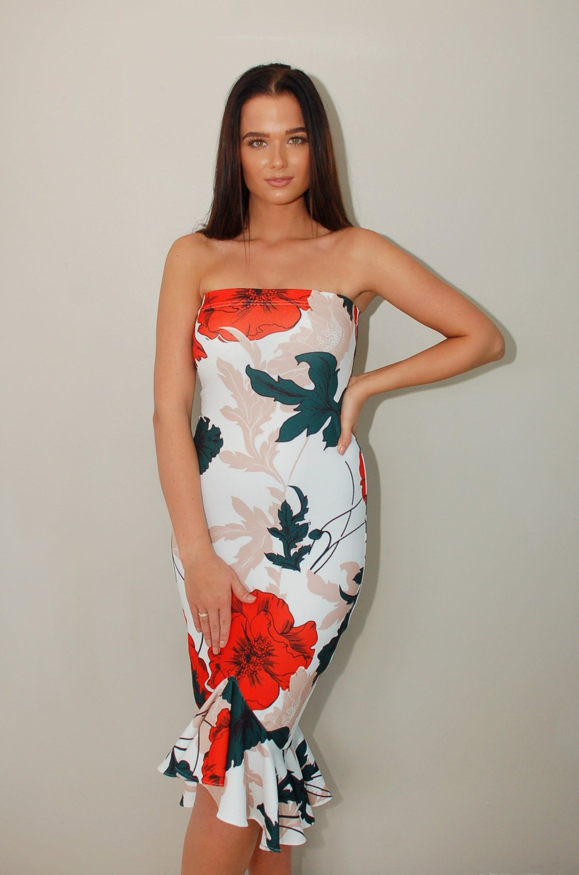 Crimson Petals Long Ruffle Bodycon Dress
