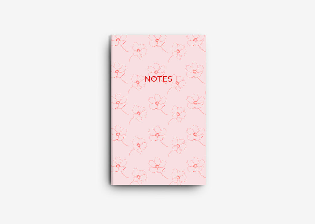 Red & Pink Flower Notebook Set