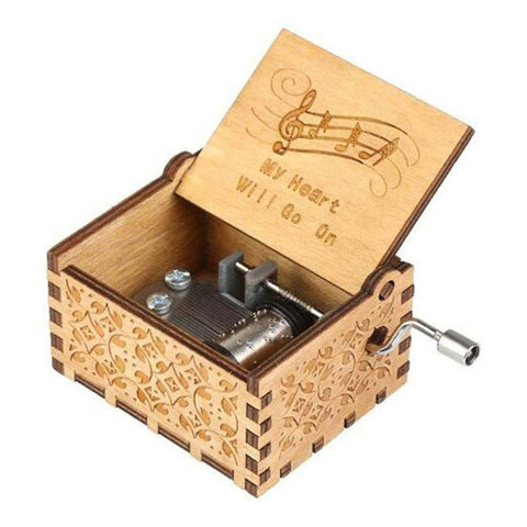 Antique Carved Music Box- My Heart Will Go On by Celine Dion