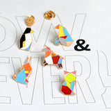 Multicolour Geometric Animal Enamel Pin Set