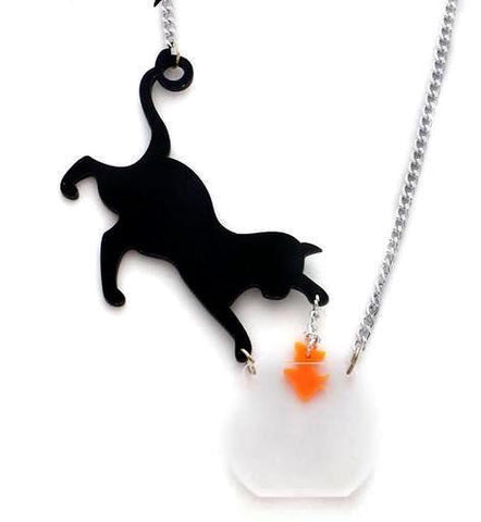 Cute Black Cat & Goldfish Necklace