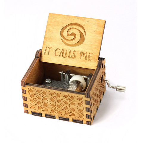 Mistra Antique Carved Music Box - It Calls me - Moana