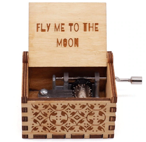 Antique Carved Music Box- Fly Me To The Moon