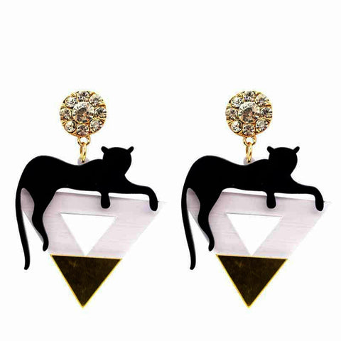 Black Panther Triangle Drop Earrings