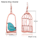 Dove Bird & Cage Drop Earrings