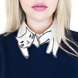 Meow Embroidered Half Shirt Collar