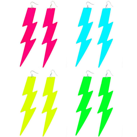 80's Glam Lightning Bolt Drop Earrings