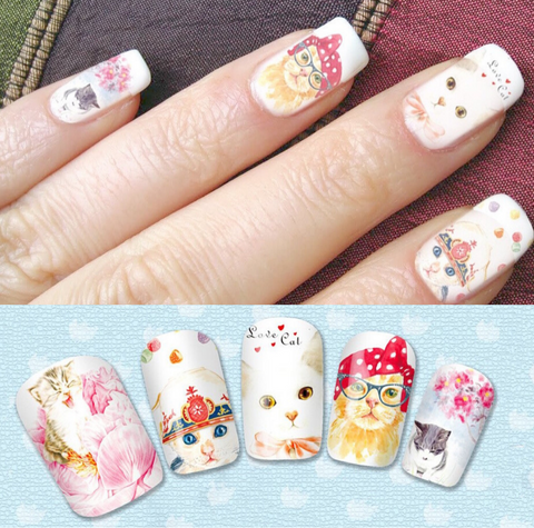 Cute Cat Lover Nail Art Decals