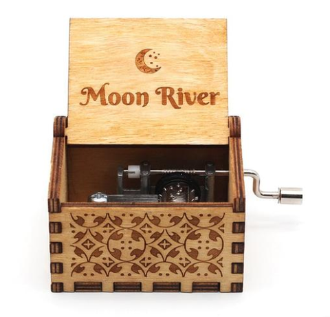 Antique Carved Music Box - Moon River