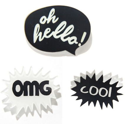 Speech Bubble Brooch Set