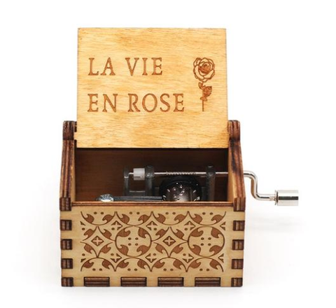 Antique Carved Music Box- La Vie En Rose