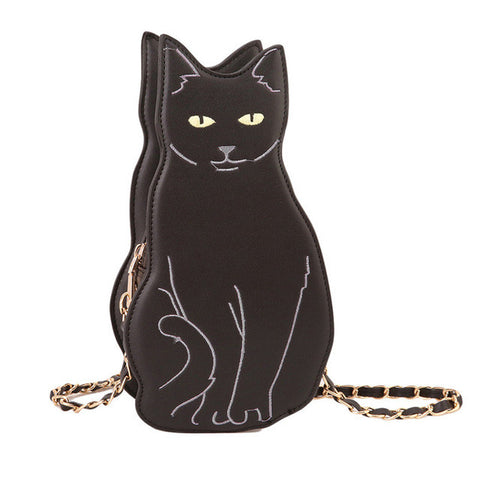 Black Kitty Crossbody Bag