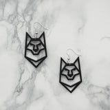 Geometric Origami Wolf Earrings